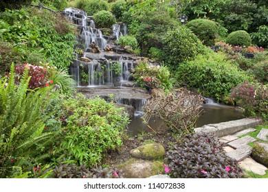 Waterfall in garden.