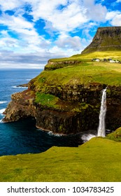 Waterfall of Gasadalur, a village  on the west side of Vagar, Faroe Islands