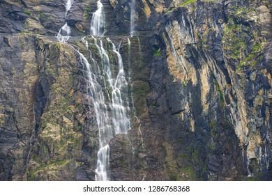 Waterfall in Gavarnie Valley, Pyrenees in France.