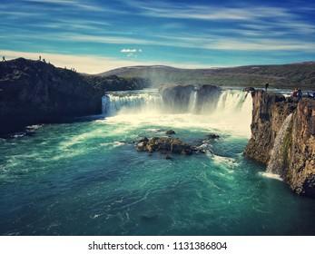 Waterfall of the gods - Godafoss in Northeastern Region of Iceland