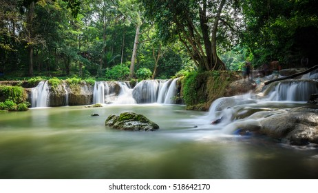 Waterfall and green trees in Thailand, Chet Sao Noi Waterfall National Park