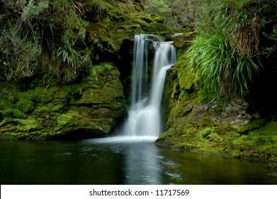 Waterfall and green vegetation on Overland Track, Tasmania, Australia
