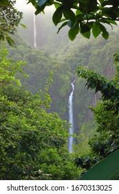 Waterfall in Guadeloupe Caribbean island. Chutes du Carbet, waterfall in Guadeloupe National Park.