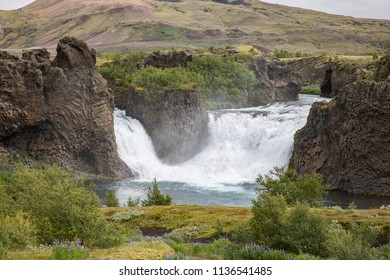 Hjálparfoss Waterfall in the Highlands of Iceland