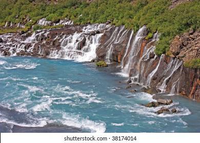 Waterfall Hraunfossar in iceland