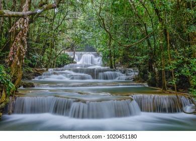 Waterfall in Huai Mae Khamin National Park Kanchanaburi, Thailand.