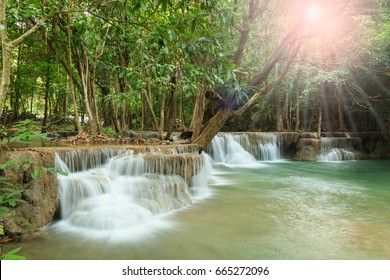 Waterfall Huay Mae Kamin beautiful in Kanchanaburi Province, With sunlight