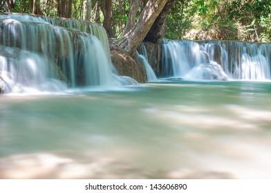 Waterfall  Huay Mae Kamin Kanchanaburi of Thailand