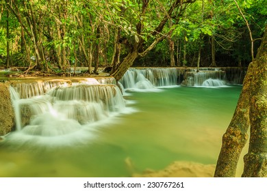 Waterfall Huay Mae Kamin National Park in Kanchanaburi Province, Thailand.