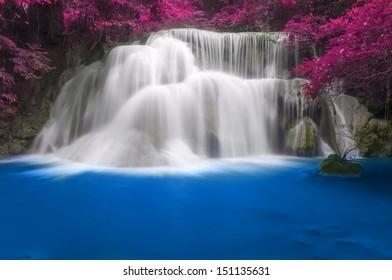 Waterfall Huay Mae Khamin three Level, Kanchanaburi Province, Thailand