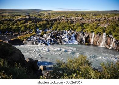 Waterfall in Iceland. hraunfossar