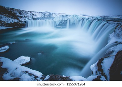 Goðafoss Waterfall Iceland Long Exposure Photography Winter
