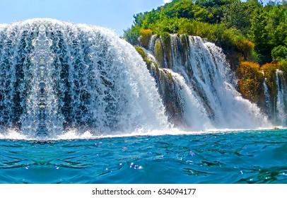 Waterfall Iguazu beautiful landscape panorama