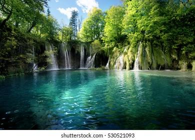 Waterfall inforest,  Plitvice, Croatia