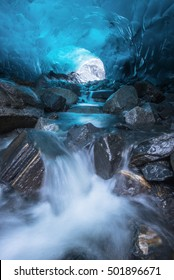 Waterfall Inside Ice Cave, Mendenhall Glacier, Juneau, Alaska, USA