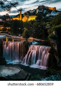 Waterfall in Jajce in Sunset