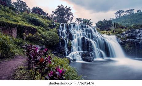 Waterfall in Java on the road to kawah ijen volcano
