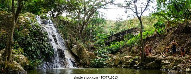 Waterfall in the jungle near Minca, Colombia.