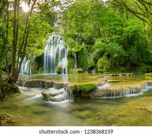 Waterfall in the Jura mountain , France.