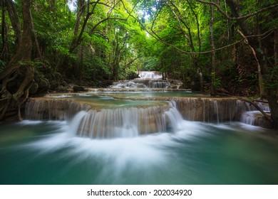 waterfall in Kanjanaburi Thailand (Huay Mae Kamin waterfall Nation Park)