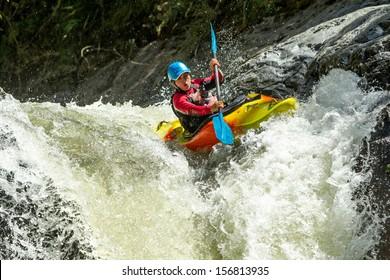 WATERFALL KAYAK JUMP, SANGAY NATIONAL PARK, ECUADOR