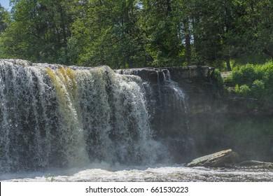 Waterfall Keila-Joa, sunny summer day. Estonia