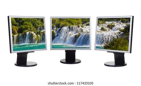 Waterfall KRKA (Croatia) in computer screens - isolated on white background