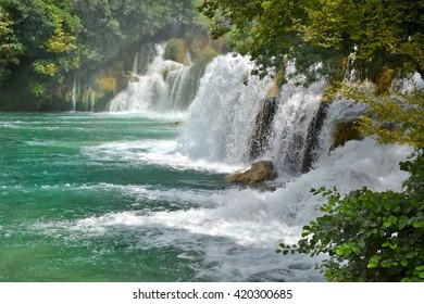 Waterfall in Krka National Park Croatia