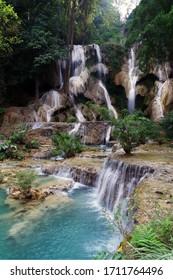The waterfall in Kuang Si area