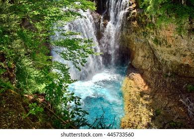 Waterfall of La Cueva in the Ordesa National Park in Spain.