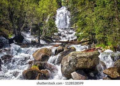 Waterfall of La Ratera inside the Aigues Tortes National Park in Spain.