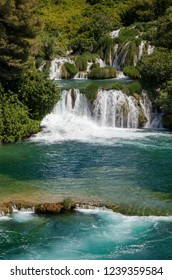 Waterfall and lake in Krka national park