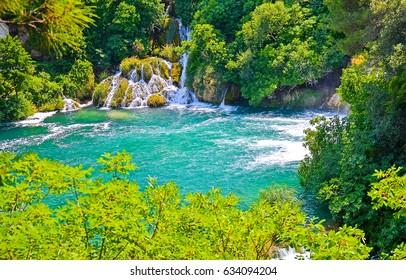 Waterfall lake landscape