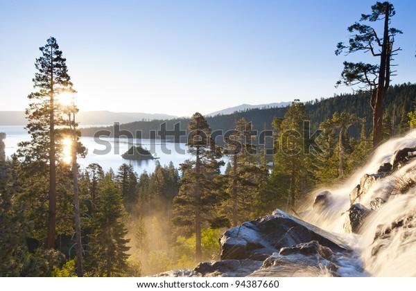 Waterfall in Lake Tahoe, California, United States of America.