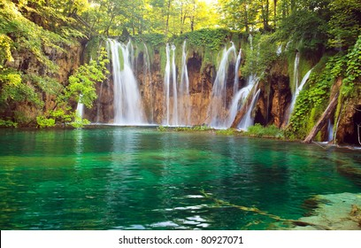 Waterfall in Plitvic? Lakes national park, Croatia