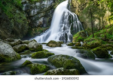 Waterfall landscape beautiful water falling on mountains