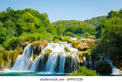Waterfall landscape. Krka waterfalls, National Park, Croatia.