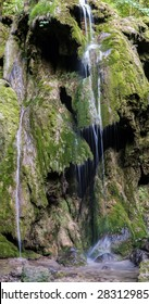 Waterfall Landscape in the Mountains, Slow Shutter Speeds. Small Waterfall.