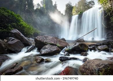 Waterfall landscape panorama. Outdoor hdri photography