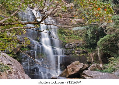 Waterfall located in deep forest at Phu Kradung national park, Loei province, Thailand.