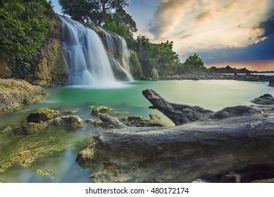 Waterfall located in Indonesia, Surabaya when the sun set
