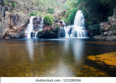 Waterfall with long exposure effect, Grito waterfall, sun trail, Capitolio Minas Gerais, Cachoeira do Grito,