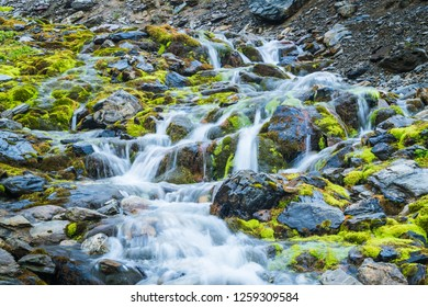 Waterfall in Martial Glacier in Ushuaia. detail of the little river. Patagonia Argentina