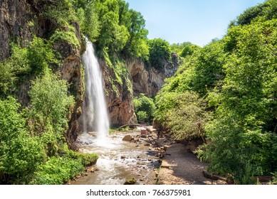 Waterfall Medovyi on river Alikonovka, Karachay Cherkessia, Russian Federation.