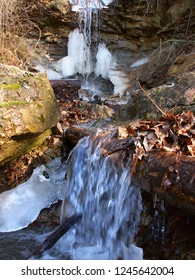 Waterfall of melting snow at Kickapoo State Park in Illinois