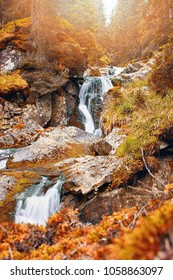 Waterfall in the middle of beautiful autumnal wild forest in Retezat mountains