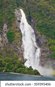 Waterfall of Milford Sound fiord, 