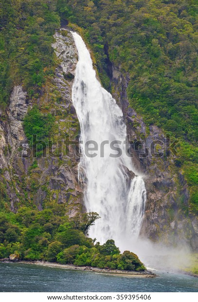 Waterfall Milford Sound Fiord Fiordland National Stock Photo