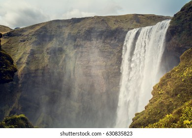 Waterfall and mist in Skogafoss, Iceland