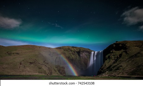 waterfall with moonbow